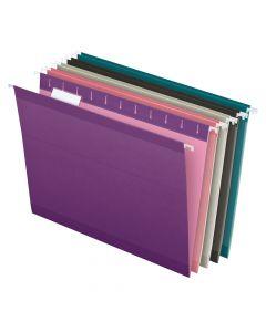 Pendaflex® Reinforced Hanging Folders, Letter Size, 1/5 Cut, Assorted Jewel-Tone Colors, 25/BX