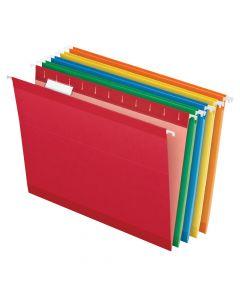 Pendaflex® Reinforced Hanging Folders, Letter Size, 1/5 Cut, Assorted Colors, 25/BX