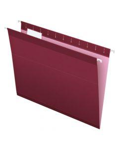 Pendaflex® Reinforced Hanging Folders, Letter Size, Burgundy, 1/5 Cut, 25/BX
