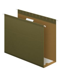 "Pendaflex® Extra Capacity Reinforced Hanging Folders, 4"", Letter Size, Standard green, 1/5 Cut, 25/BX"