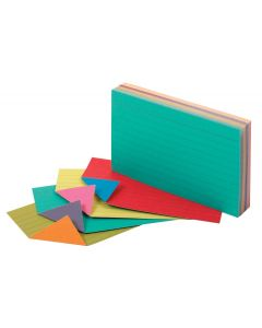 Oxford® Two-Tone Index Cards, 3 x 5, Assorted Colors, 100 per pack