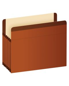 "Pendaflex® Premium Reinforced File Pockets, Letter Size, Brown, 5.25"" Expansion, 5/BX"