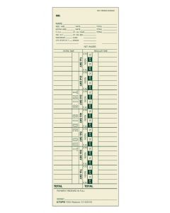 Time Card, Weekly, Manila, #10-100312, Green Ink Front, 500 CD/ BX