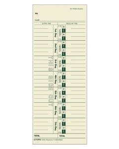 Time Card, Weekly, Manila, #10-800292, Green Ink Front, 500 CD/BX