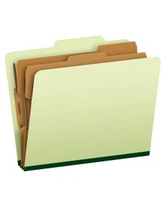 Pendaflex® Classification Folders, Letter Size, 6 Section, Apple Green, 2/5 Cut, 10/Box