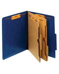 Pendaflex® Classification Folders, Moisture Resistant, 2 Dividers, Bonded Fasteners, 2/5 Cut Tab, Dark Blue, Letter, 10/BX, 5 BX/CT