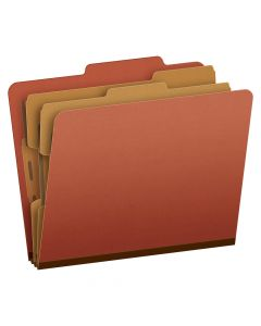 Pendaflex® Classification Folders, Letter Size, 6 Section, Brick Red, 2/5 Cut, 10/Box