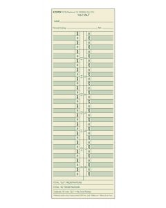 Time Card, semi-monthly, manila, green ink front, red back, 500 CD/BX