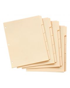 Oxford® Write-On Tab Dividers, Letter Size, 5 Tab, Manila, 100/BX