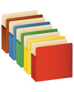 "Pendaflex® Color File Pockets, Letter Size, Assorted Colors, 3.5"" Expansion, 25/BX"