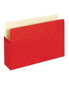 "Colored File Pockets, 3.5"", Red, Legal, 25/BX, Bulk"
