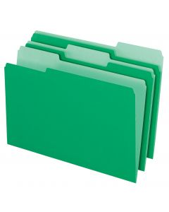 File Folder - Color, 1/3 Tab, Bright Green, Legal, 100/Bx