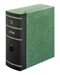 Box File, Double Thick, Letter Size, A-Z, Green