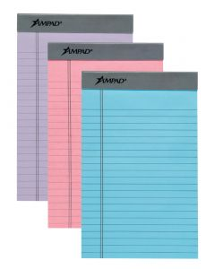 """Ampad® Pastel Writing Pad, 5"""" x 8"""", Assorted - Orchid/Pink/Blue, Perforated, Medium Rule, 50 SH/PD, 3 PD/PK"""