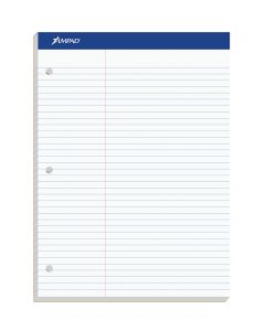 "Ampad® Double-Sheet Writing Pad, 8-1/2"" x 11-3/4"", Law Rule, 3 Hole Punched, 100 Sheets"