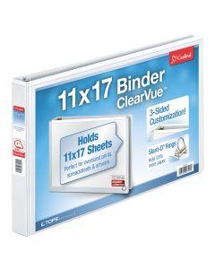 "Cardinal® ClearVue™ 11"" x 17"" Binder, Non-Locking Slant-D® Rings, 1"", 240-Sheet Capacity, Non-Stick, White"
