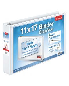 "Cardinal® ClearVue™ 11"" x 17"" Binder, Non-Locking Slant-D® Rings, 2"", 540-Sheet Capacity, Non-Stick, White"