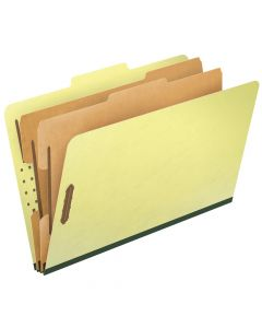 Pendaflex® Top-Tab Pressboard Classification Folders, 2/5 Cut, Legal Size, Apple Green, 10 Per Box