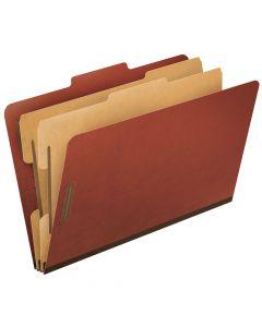 Pendaflex® Top-Tab Pressboard Classification Folders, 2/5 Cut, Legal Size, Brick Red, 10 Per Box