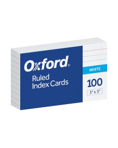 """Oxford® Ruled Index Cards, 3"""" x 5"""", White, 100 Per Pack, 20 Pack PDQ Carton"""