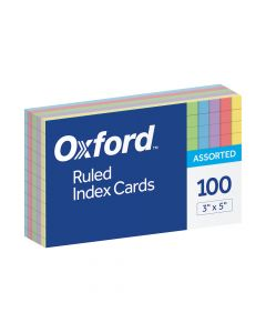 """Oxford® Ruled Color Index Cards, 3"""" x 5"""", Assorted Colors, 100 Per Pack, 20 Pack PDQ"""
