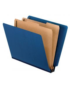 "Classification Folder - End Tab, 2 Divider, 2"" Bonded, Ltr, Dark Blue, 10/Bx"
