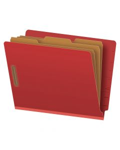 """Pendaflex® Pressboard End-Tab Classification Folders, Letter Size, 8 Section, 3.5"""" Expansion, Red, Straight Cut, 10/BX"""