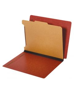 Classification Folders, Dual Tab, 1 Divider, Bonded Fasteners, 2/5 Cut Tab, Red, Letter, 10/BX, 5 BX/CT