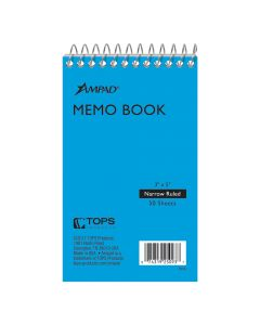 "Ampad® Top-Bound Memo Book, 3"" x 5"", Narrow Rule, 50 Sheets"