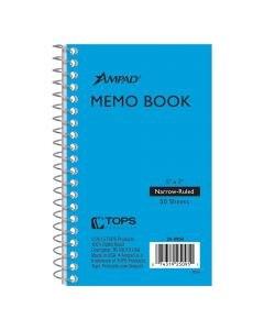 "Ampad® Memo Book, 3"" x 5"", Narrow Rule, 50 Sheets"