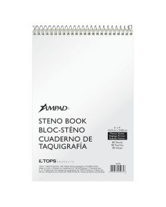 """Ampad® Steno Books, 6"""" x 9"""", Pitman Rule, White Cover, Green Tint Paper, 80 Sheets, 12 Pack"""