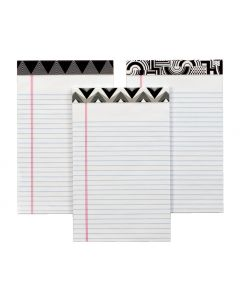 "TOPS™ Fashion Legal Pad, 5"" x 8"", Perforated, Assorted Black/White Headtapes, White, Narrow Rule, 50 SH/PD, 6 PD/PK"