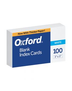 "Oxford® Blank Index Cards, 3"" x 5"", White, 100 Per Pack"