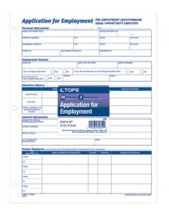 Application for Employment, White, 2-sided, 50 SH, 2 PD/PK