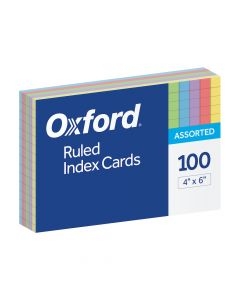 """Oxford® Ruled Color Index Cards, 4"""" x 6"""", Assorted Colors, 100 Per Pack"""