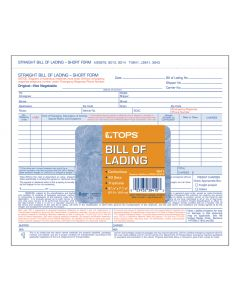 """TOPS Bill of Lading, 3-Part Carbonless, 8-1/2"""" x 7"""", 50 Sets per Pack"""