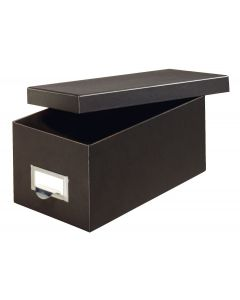 "Fiberboard Index Card Storage Boxes, 3"" x 5"" Card Size, Solid Black"