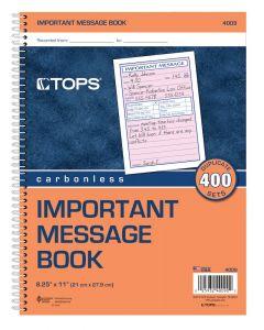 Phone Message Book, 2-Part, Carbonless, 4/PG, 400 ST/BK
