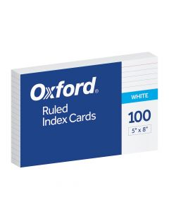 """Oxford® Ruled Index Cards, 5"""" x 8"""", White, 100 Per Pack"""