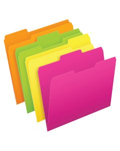 Pendaflex® Glow File Folders, Letter Size, Assorted Colors, 1/3 Cut, 24/PK