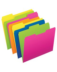 Pendaflex® Twisted Glow File Folders, Letter Size, Assorted Colors, 1/3 Cut, 12/PK