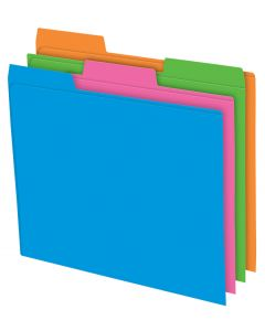 Pendaflex® File Folder, 3 Tab Positions, Letter size, Solid Glow Assorted