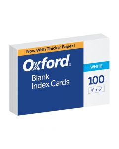 """Oxford® Blank Index Cards, 4"""" x 6"""", White, 100 Per Pack"""