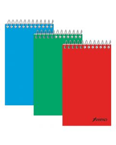 """Ampad® Top-Bound Memo Book, 3"""" x 5"""", Narrow Rule, Assorted Color Covers, 60 Sheets, 3 Pack"""
