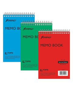"""Ampad® Top-Bound Memo Books, 4"""" x 6"""", Narrow Rule, Assorted Colors Covers, 40 Sheets, 3 Pack"""