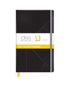 """Oxford® Idea Collective® Medium Hardcover Journal, 5"""" x 8-1/4"""", Legal Rule, Black Embossed Cover, 120 Sheets"""