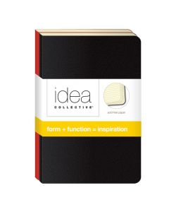 "Idea Collective® Mini Softcover Journal, 5-1/2"" x 3-1/2"", Wide Rule, Assorted 2-Pack: Red/Black Covers, 40 SH/BK"