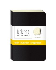"Idea Collective® Mini Softcover Journal, 5-1/2"" x 3-1/2"", Wide Rule, Black Cover 2-Pack, 40 SH/BK"