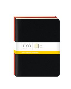"Idea Collective® Large Softcover Journal, 10"" x 7-1/2"", Wide Rule, Assorted 2-Pack: Red/Black Covers, 48 SH/BK"