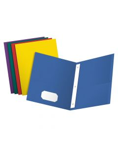 Oxford® Twin Pocket Folders with Fasteners, Letter Size, Assorted Colors, 25 Per Box